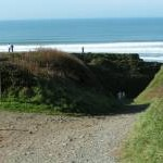 Path down to Sandymouth beach, crossing the coast path