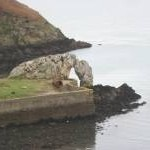The Porth Wen natural arch at low water