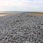 Looking along the pebble ridge at Northam Burrows