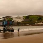 Bigbury-on-Sea: the Burgh Island tractor arrives