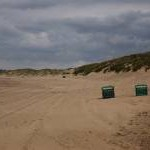 Litter bins on the beach, Camber Sands