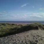 On the sand dunes looking over to Porthcawl
