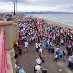 Crowds on the seafront at Rhyl for the Air Show