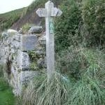 Footpath signpost at Aberbach