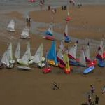 Yachts on the beach at Tenby