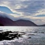 Niarbyl Bay and misty air over mountains