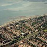 Aerial view of Southend seafront: Westcliff paddling pool towards Chalkwell station