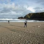 Portreath beach on windy November day