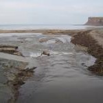 Skelton Beck flows onto the Beach at Saltburn