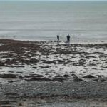 Two anglers at Clarach Bay