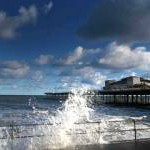 Breaking waves at Colwyn Bay and Victoria Pier