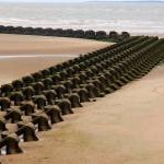 Sea defence on the beach at New Brighton