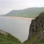 Cliff cleft reveals Rhossili Beach