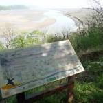 Information board on the Carmarthen Bay Coastal Path near Laugharne