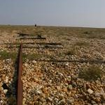 Dungeness, looking seaward: rails and winch for dragging fishing vessels ashore
