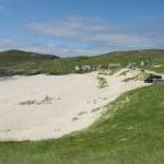 Road and dunes above Traigh Hushinish