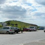 Car park at Bigbury-on-Sea, with Burgh Island in the background