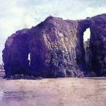 Rock arches in Perranporth in 1973