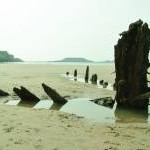 The Wreck of the Helvetia on Rhossili Beach.