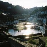 Polperro: looking into the sun