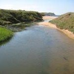 Stream flowing onto Thurlestone Sand