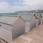 Beach huts on Seaton seafront