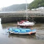 Looking across Lynmouth Harbour to Countisbury Hill