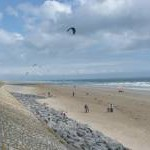 The beach, with kites and sand yachts, Pendine