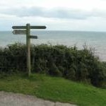 Coast path signs near Branscombe mouth