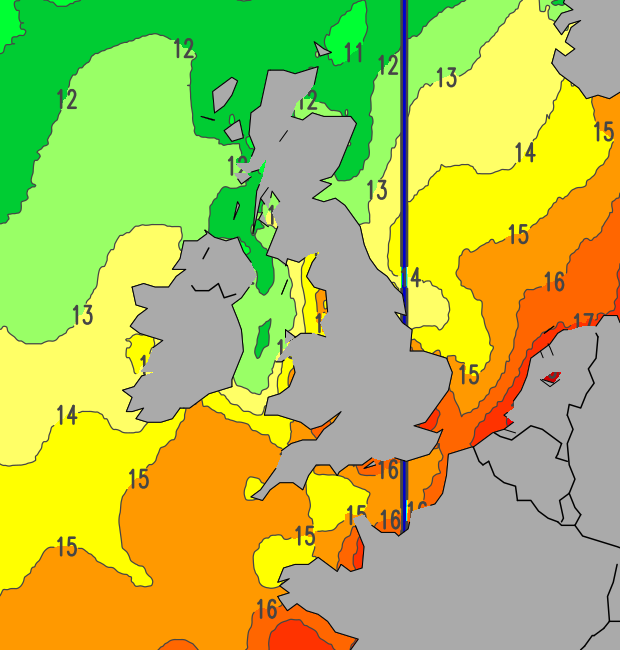 Sea temperature chart for UK waters